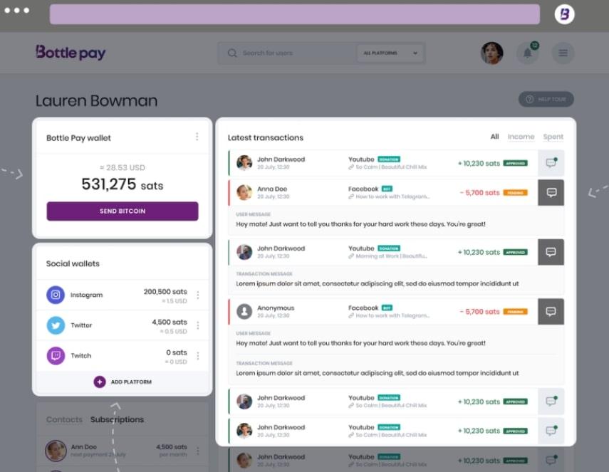 Bottle Pay Bitcoin wallet app voor sociale media